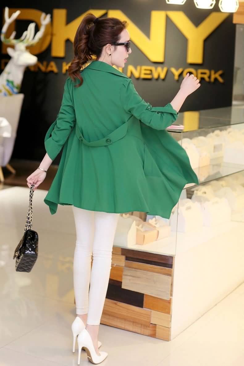 青春绿色女式时尚风衣外套背面图片