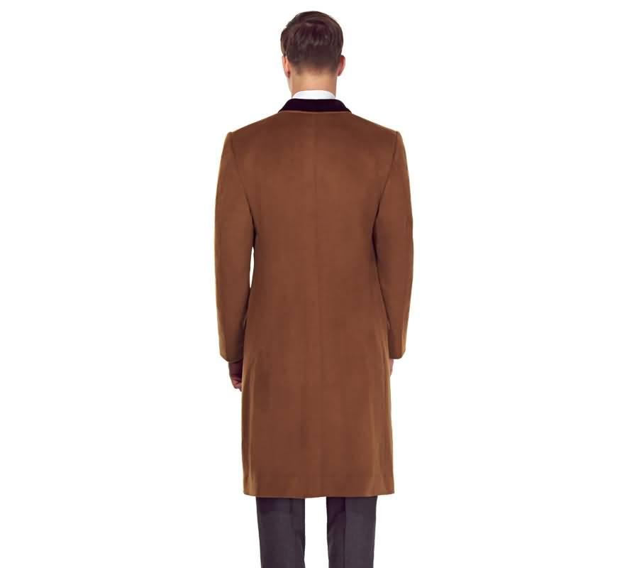 驼色进口羊绒男士大衣背面图片
