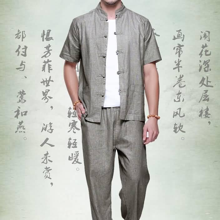 2015亚麻男士唐装套装短袖衬衫夏装