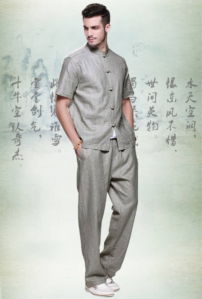 亚麻男士唐装套装短袖衬衫夏装