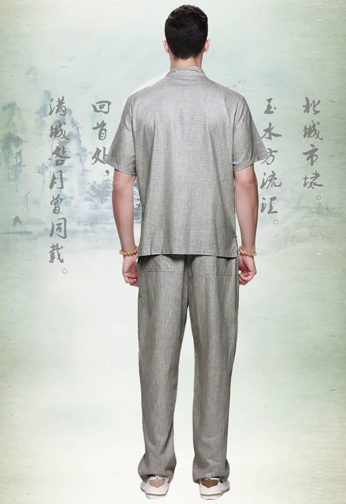 亚麻男士唐装套装短袖衬衫夏装背面图片