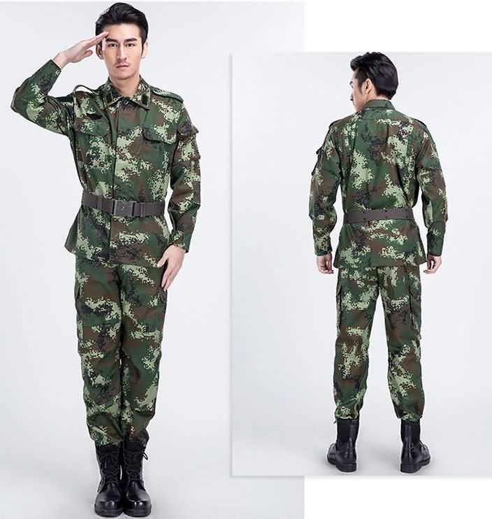 武警作战迷彩训练服正反面图片