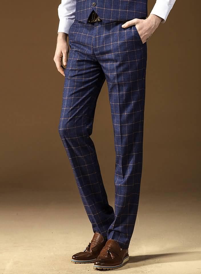 商务英伦格子男士西裤图片