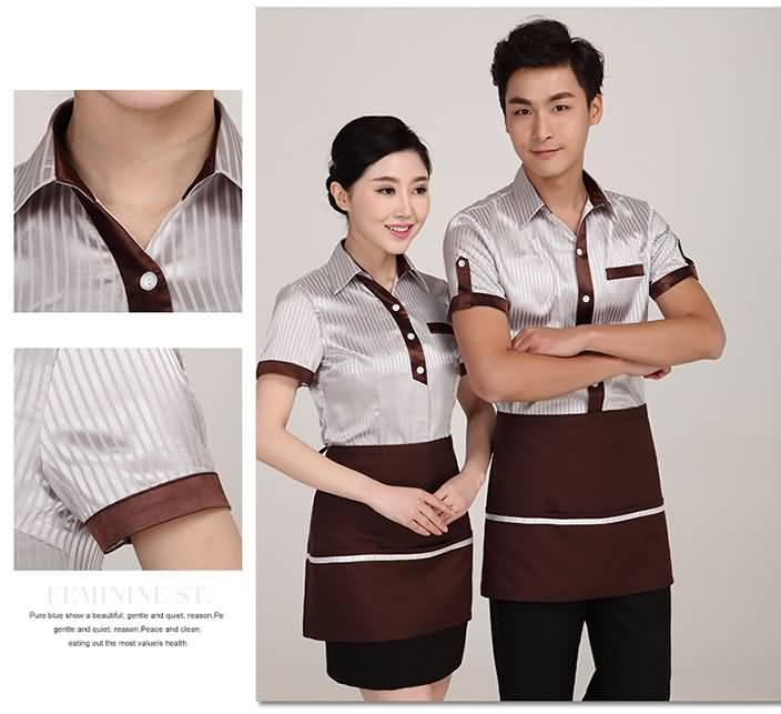 服务员工作服餐厅短袖夏季制服细节