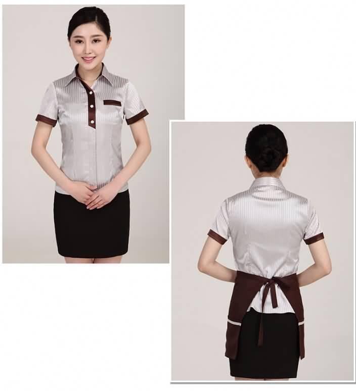 服务员工作服餐厅制服正反面图片