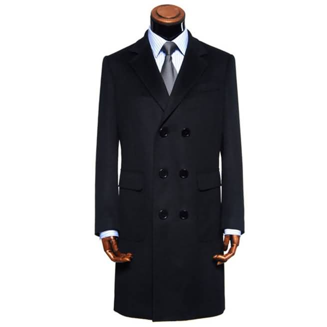 2015冬季黑色羊绒商务大衣【新品】