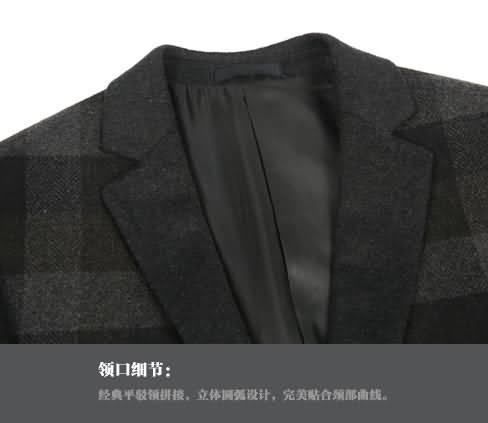 复古格纹西服领部细节图片