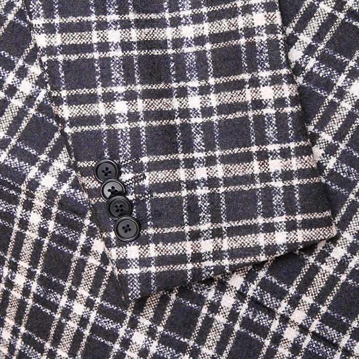 2015秋冬新款毛绒格子男士单西袖口图片