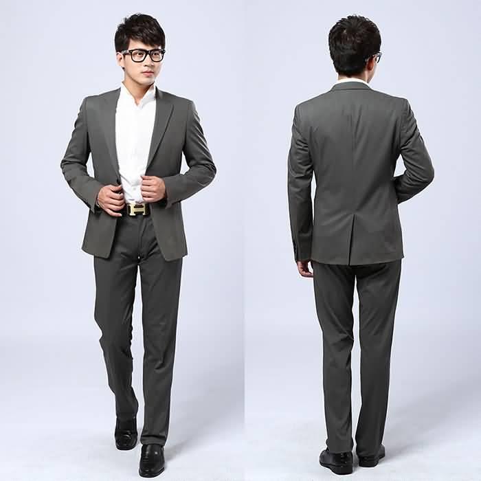 灰色男士职业装西服套装正反面图片