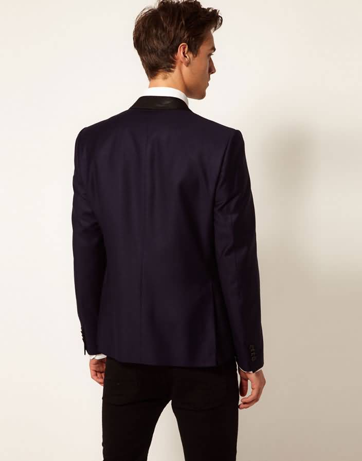 藏蓝色单粒扣男式休闲小西服背面图片