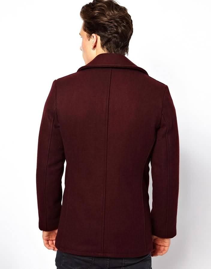 复古英伦男毛呢大衣背面图片