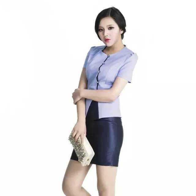 浅蓝色中式圆领职业装套裙