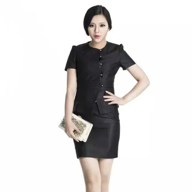黑色中式圆领职业装套裙
