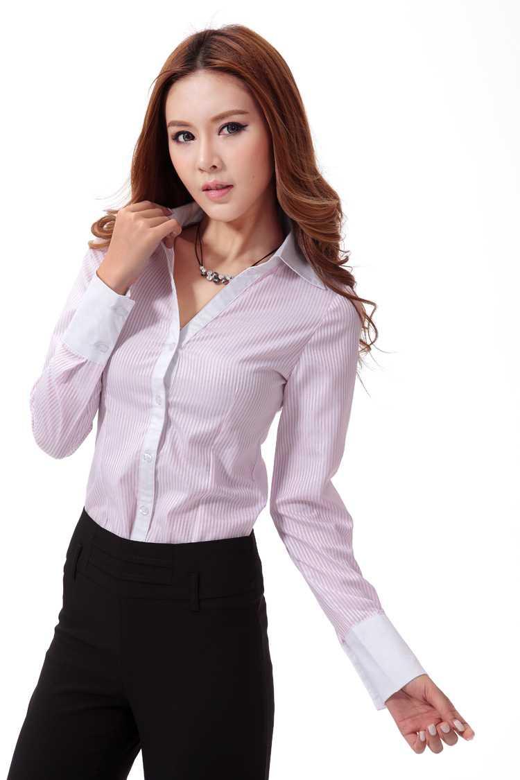 V字领粉红条纹女士衬衫