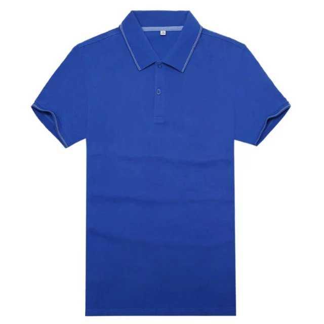 宝蓝色竹纤维翻领T恤衫