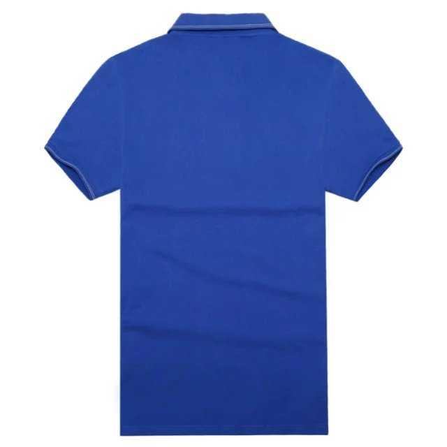 宝蓝色丝光处理竹纤维翻领T恤衫