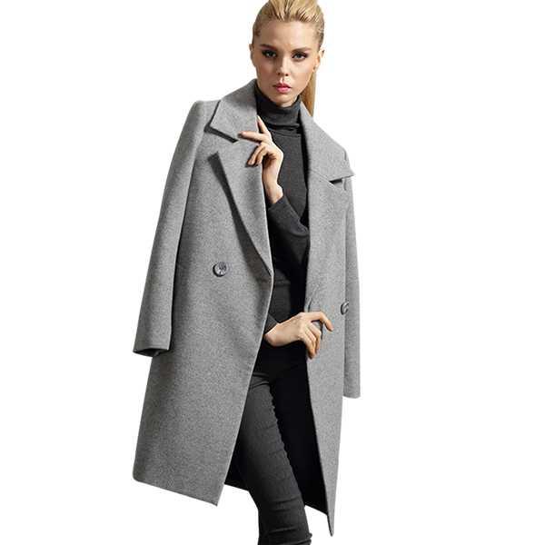 小欧版西装领通勤羊绒女士大衣