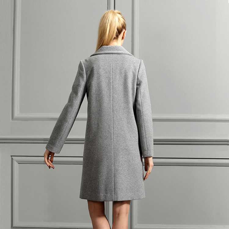 小欧版女士羊绒大衣背面图片