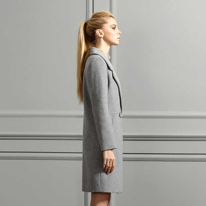 小欧版女士羊绒大衣侧面图片