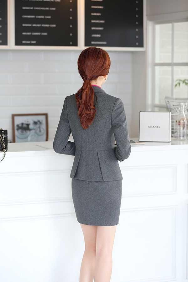 灰色女士职业装套裙背面图片