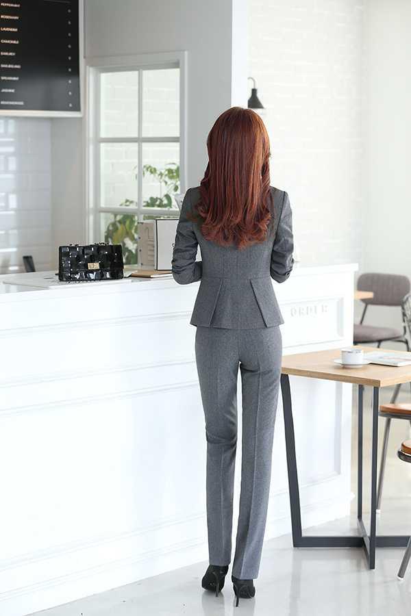 灰色女士职业装套裤背面图片