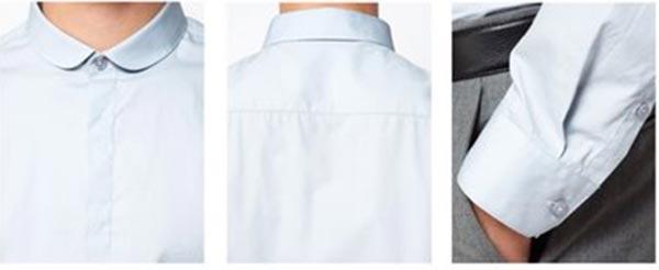 韩版小圆领暗扣男衬衣细节图片