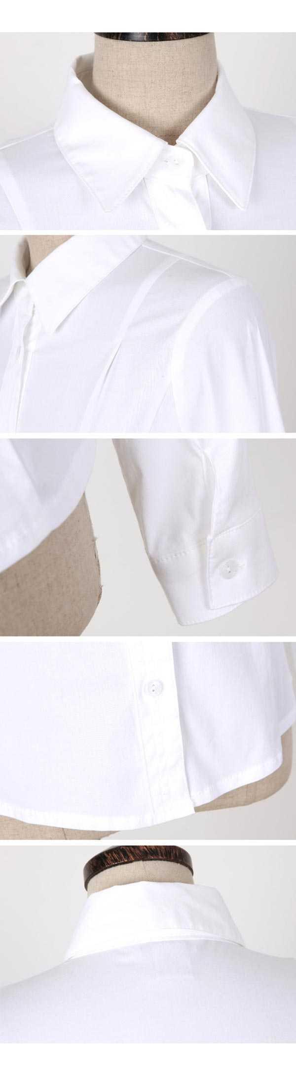 韩版原白色女衬衣细节图片