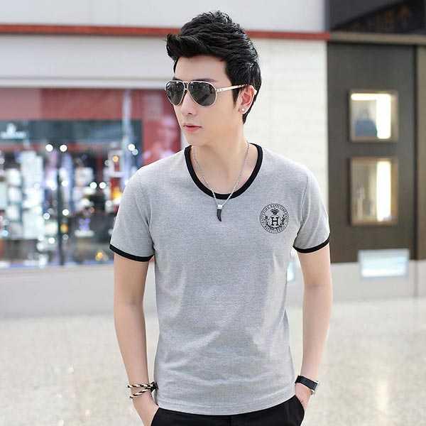 夏季男士短袖T恤奥戴尔棉时尚修身灰色T恤