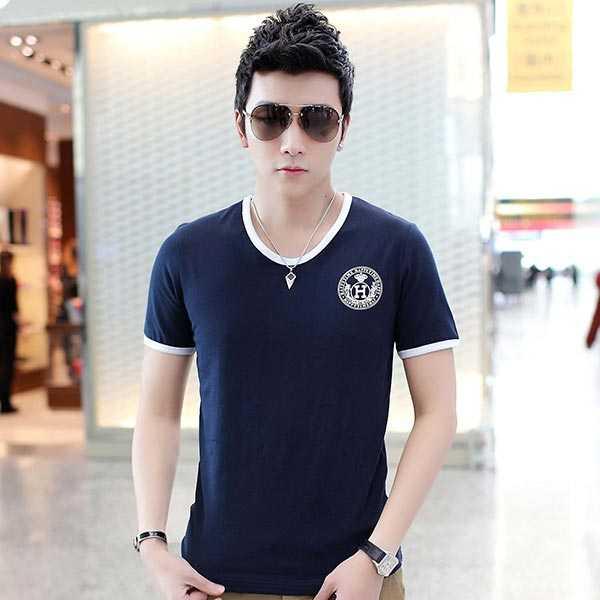 夏季男士短袖T恤奥戴尔棉时尚修身蓝色T恤