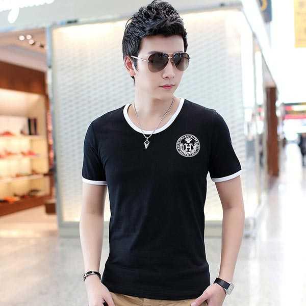 夏季男士短袖T恤奥戴尔棉时尚修身黑T恤