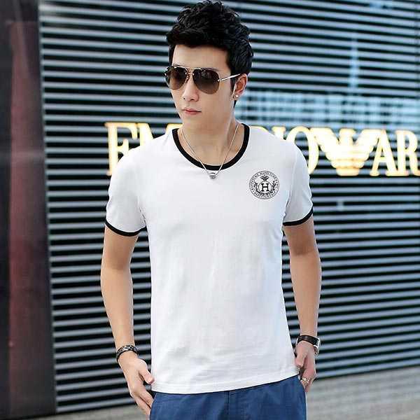 夏季男士短袖T恤奥戴尔棉时尚修身白T恤
