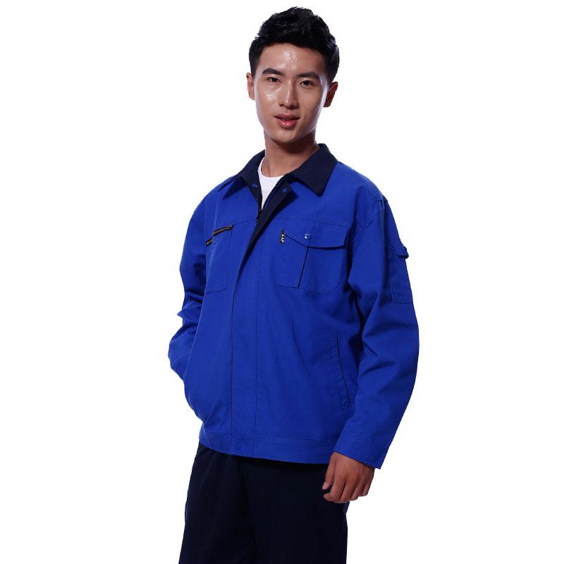 深蓝色全棉水洗男工作服