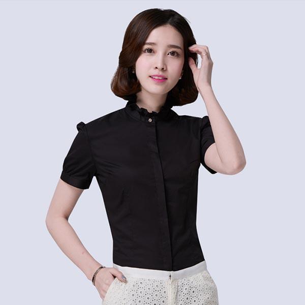 女短袖职业雪纺衬衣