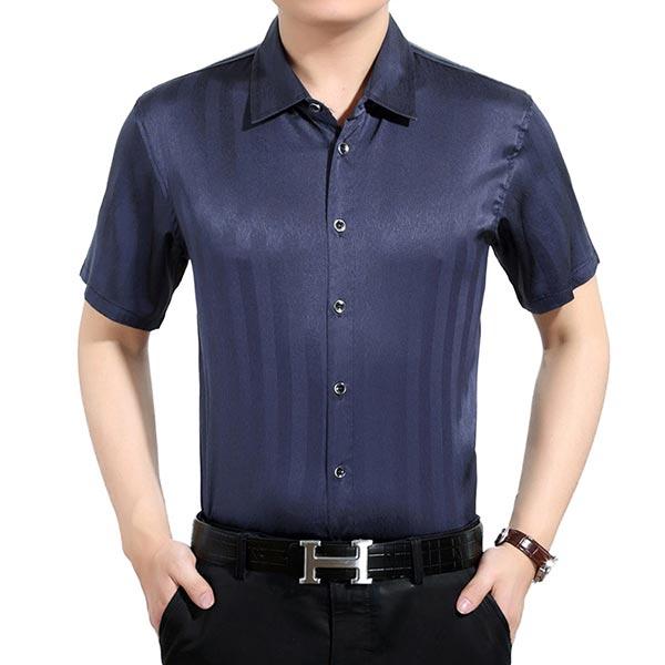 男士短袖真丝衬衫中国风桑蚕丝衬衣