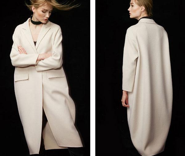 白色双面呢100%纯羊毛女大衣