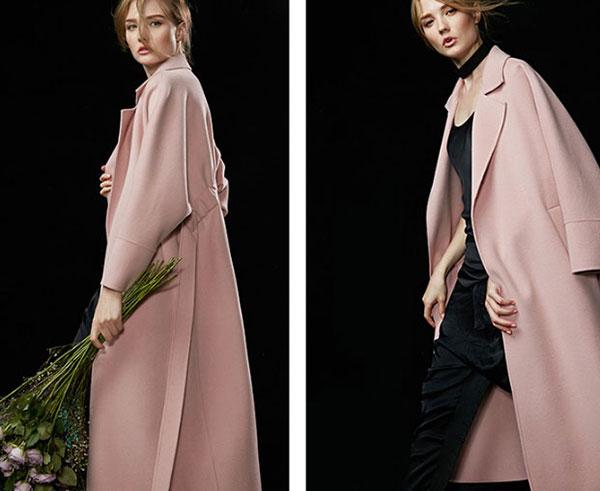 2016新款高端粉色双面羊绒大衣