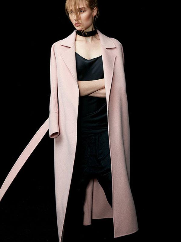 2016新款高端粉色双面羊绒大衣定做