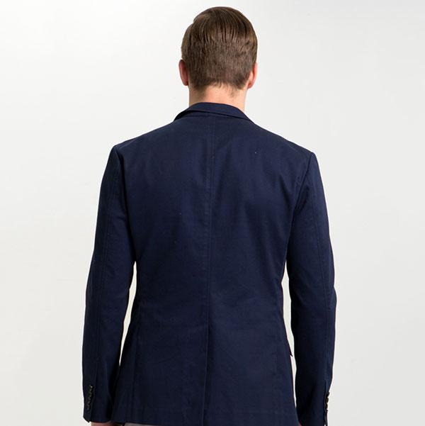 海军蓝休闲全棉西服背面图片