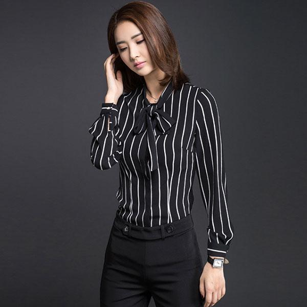 济宁职业衬衫订做经典条纹衬衣蝴蝶结修身版