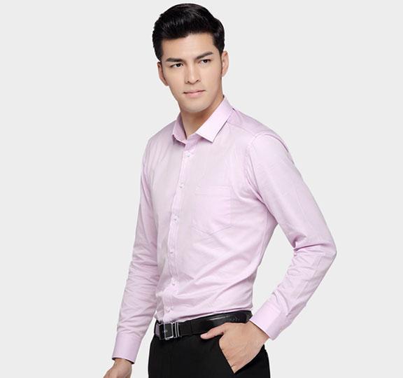 济宁夏季男装定制粉色衬衣定做