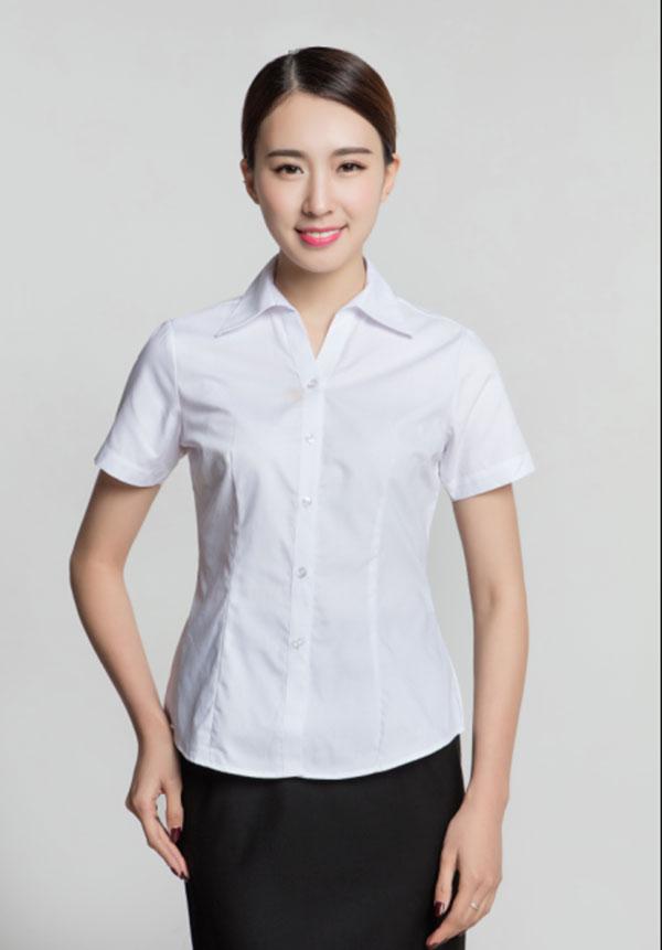 济宁夏季职业装定制女士V字领衬衣