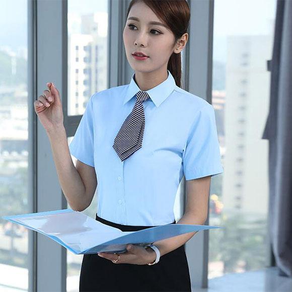 办公白领夏季职业装浅蓝色衬衣裙装