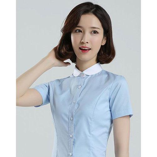 浅蓝色娃娃领女士衬衣