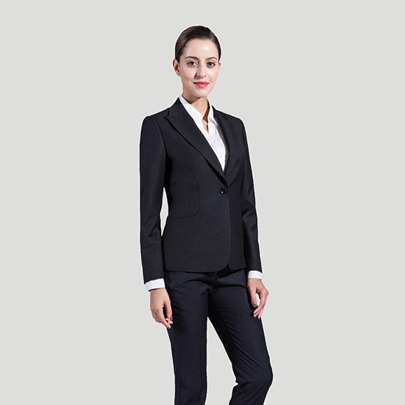 黑色韩版单粒扣女士职业西装
