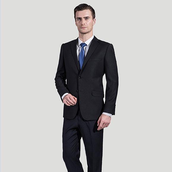 黑色韩版两粒扣男士职业西装修身版