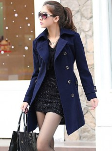 【新品】时尚翻领女式毛呢大衣