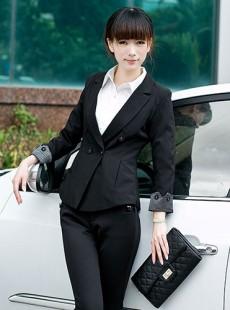 黑色女士职业装双排扣小西服修身款