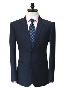 修身绅士黑底蓝竖条纹西服男士职业装