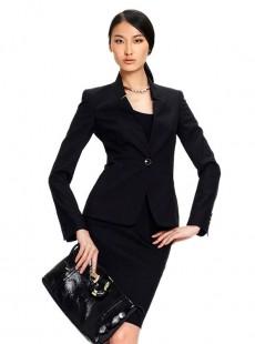 2015新款黑色立领职业装套裙