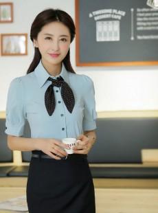 韩版时尚蓝色夏季职业装女装